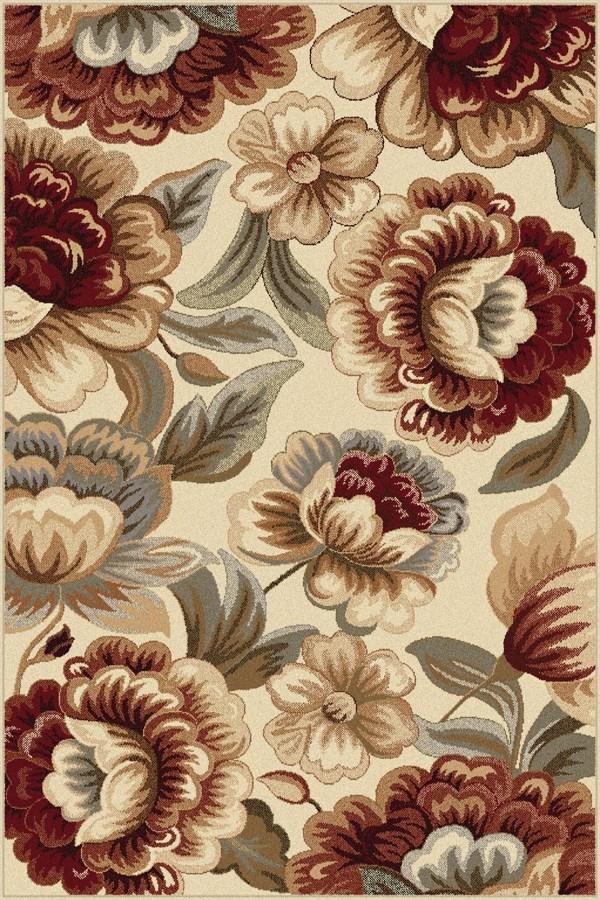 Ivory, Red, Blue Floral / Botanical Area Rug