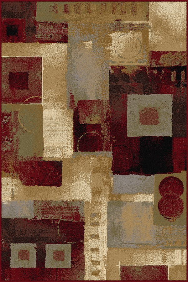 Brown, Red, Gold Contemporary / Modern Area Rug