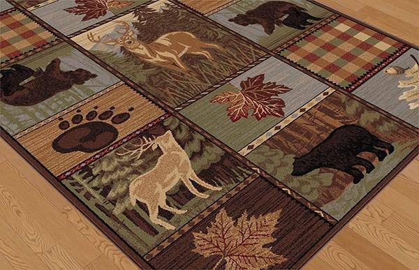 Beige, Green Animals / Animal Skins Area Rug