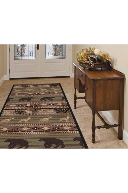 Green, Brown, Red Southwestern / Lodge Area Rug