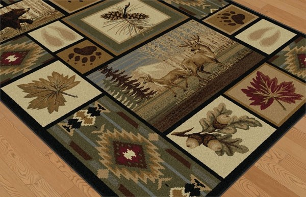 Brown, Red, Green Southwestern / Lodge Area Rug