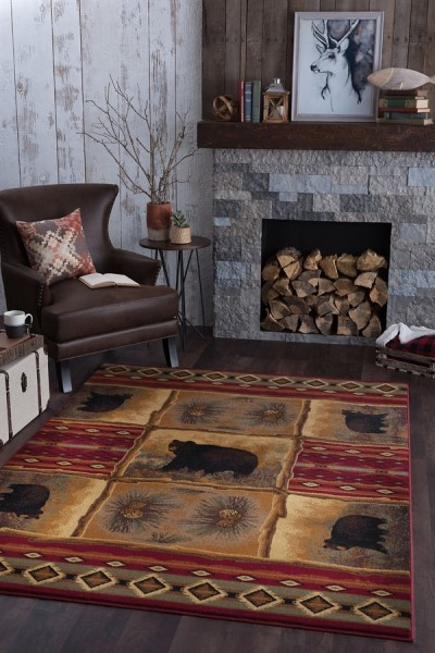 Red, Beige, Green Country Area Rug
