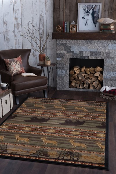 Green, Brown, Red Country Area Rug
