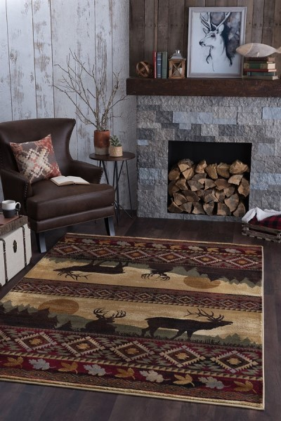 Red, Brown, Beige Country Area Rug