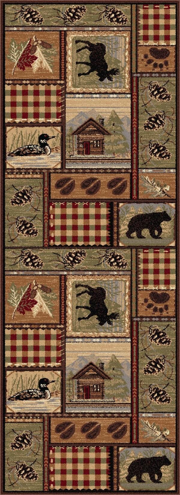 Brown, Green Animals / Animal Skins Area Rug