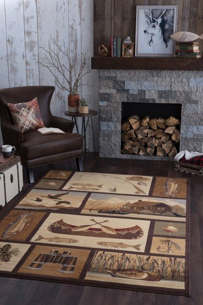 Brown, Beige, Red Country Area Rug
