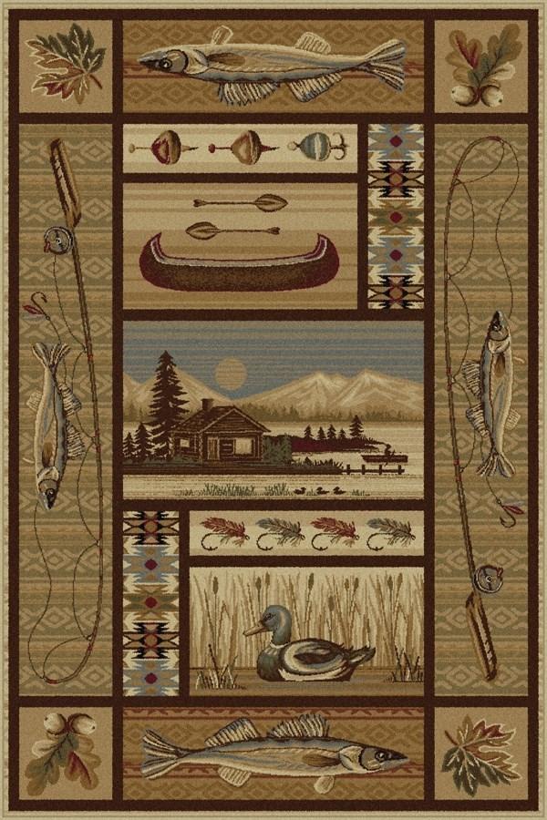 Beige, Brown, Red Southwestern / Lodge Area Rug