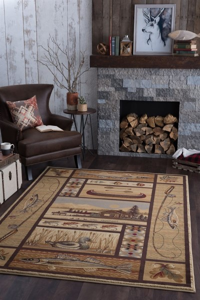 Beige, Brown, Red Country Area Rug