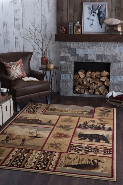 Brown, Red, Green Country Area Rug
