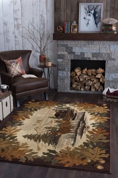 Brown, Beige, Green Country Area Rug