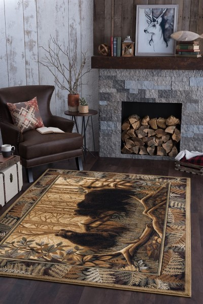 Beige, Brown Red Country Area Rug