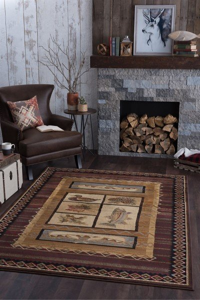 Brown, Beige, Red (6538) Country Area Rug