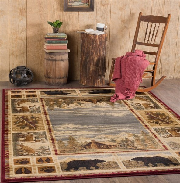Red, Ivory Country Area Rug