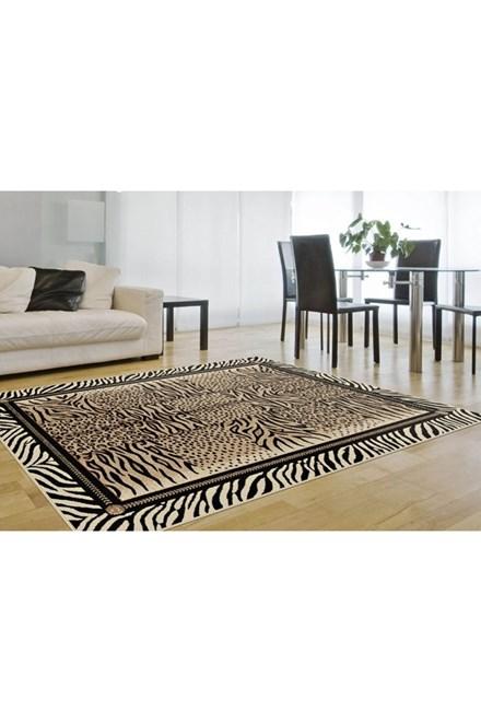 Beige, Black, Tan Contemporary / Modern Area Rug