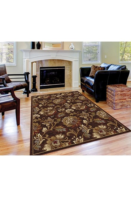 Brown, Red, Gold Traditional / Oriental Area Rug
