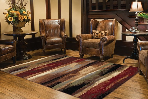 Beige, Red, Green  Contemporary / Modern Area Rug