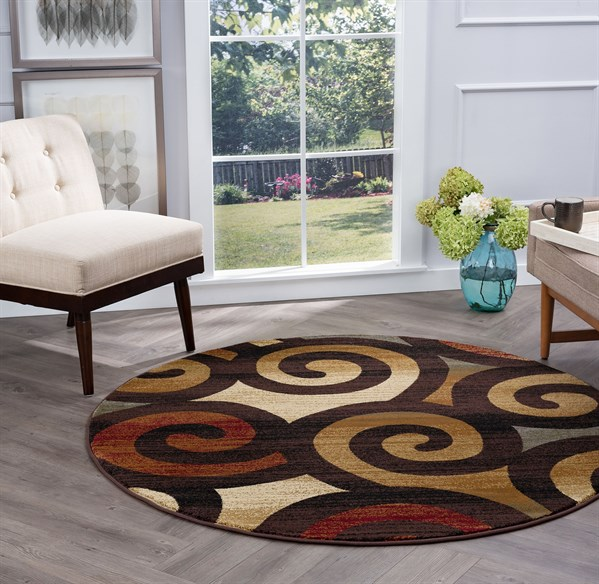 Red, Ivory, Gold Contemporary / Modern Area Rug
