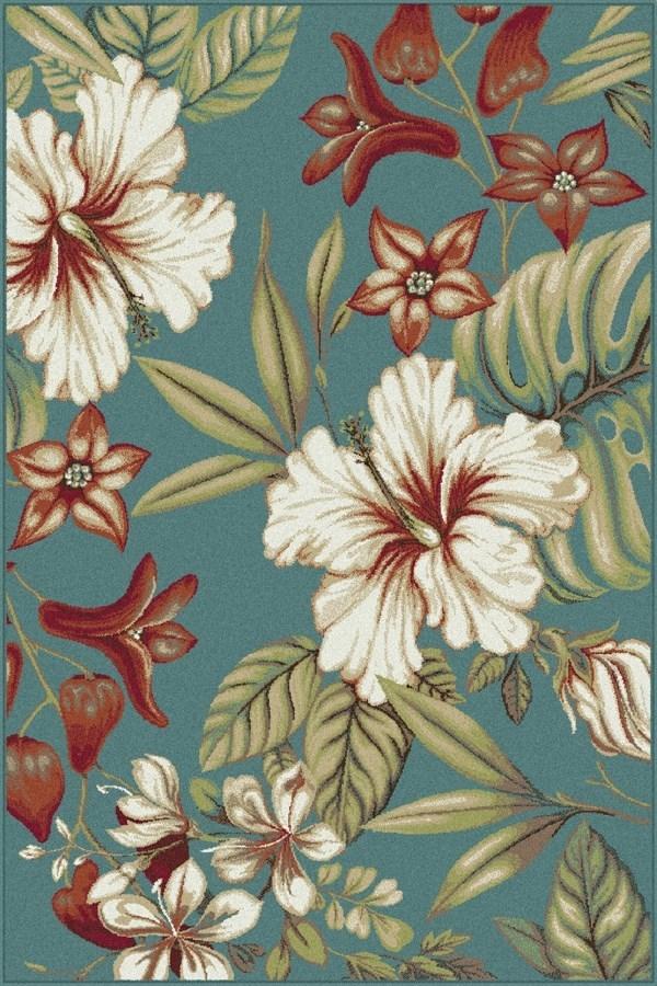Green, Ivory Floral / Botanical Area Rug