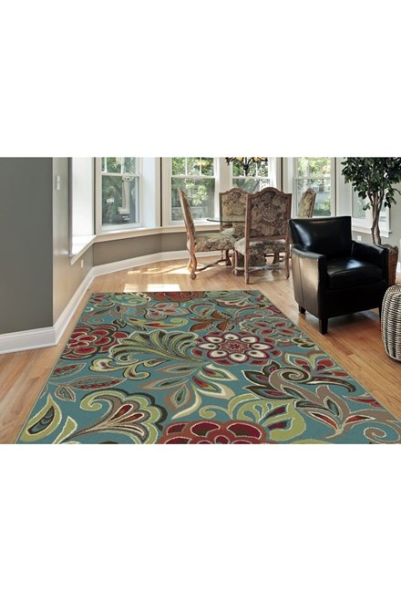 Green, Red, Rust Floral / Botanical Area Rug