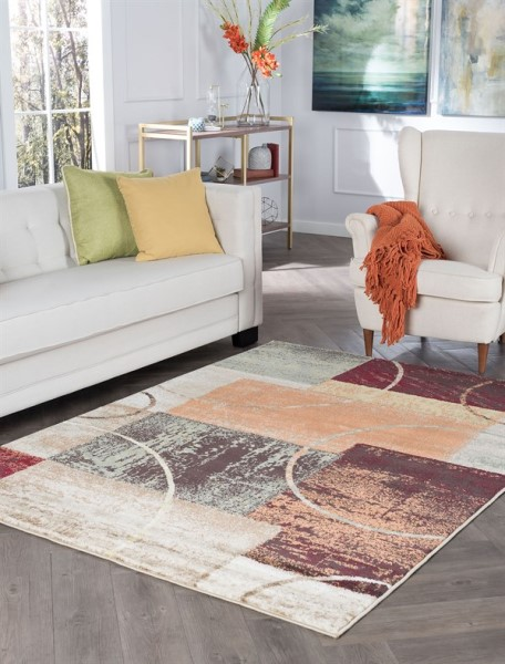 Red, Rust, Green Contemporary / Modern Area Rug
