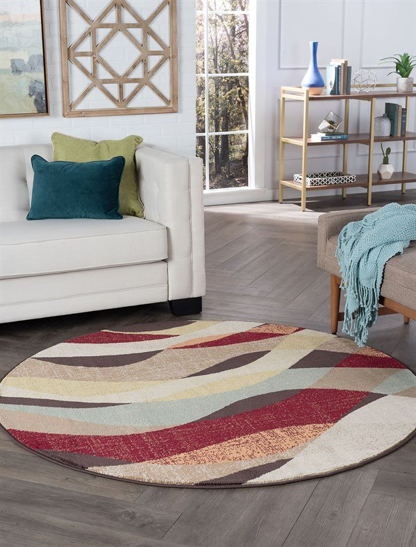 Brown, Red, Rust Contemporary / Modern Area Rug