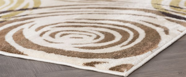 Ivory, Beige, Blue Contemporary / Modern Area Rug