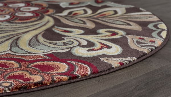 Brown, Red, Rust Floral / Botanical Area Rug