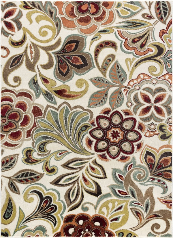 Ivory, Red, Rust Floral / Botanical Area Rug