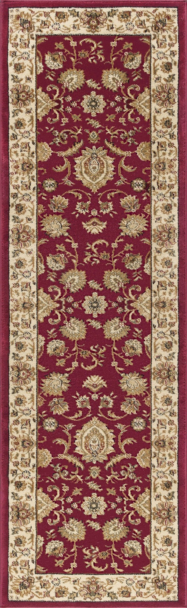 Red, Beige, Green (SNS-4720) Traditional / Oriental Area Rug