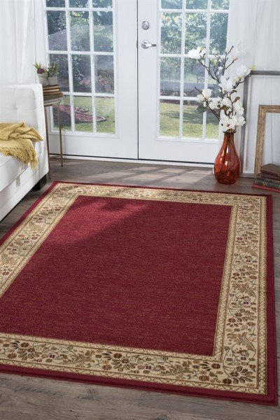 Red, Beige, Green (SNS-4740) Contemporary / Modern Area Rug