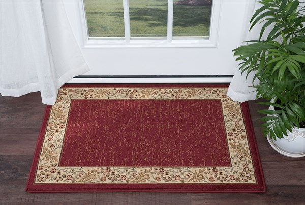 Red, Beige, Green (SNS-4740) Bordered Area Rug