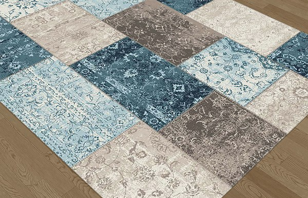 Teal, Taupe, Ecru Transitional Area Rug