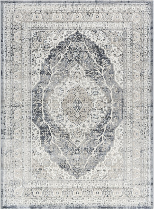 Gray, Cream, Charcoal, Beige Vintage / Overdyed Area Rug