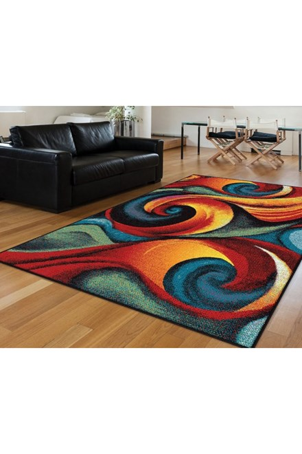 Blue, Red, Green, Magenta (SMP-1001) Abstract Area Rug