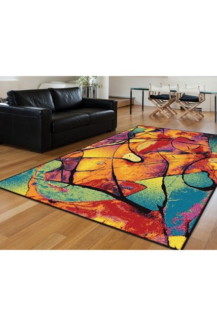 Blue, Red, Green, Magenta Contemporary / Modern Area Rug