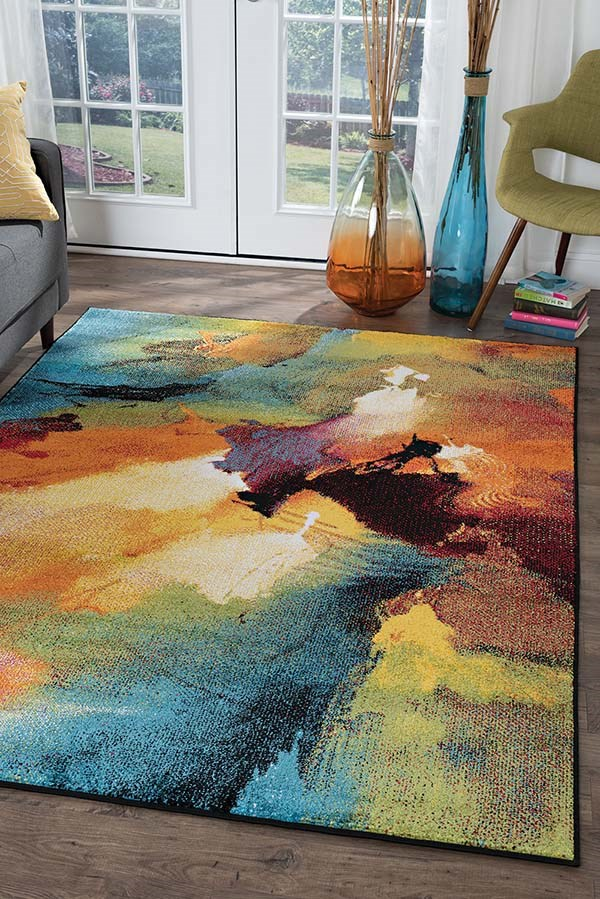 Red, Orange, Blue Contemporary / Modern Area Rug