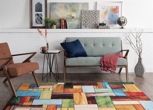 Red, Orange, Blue  Geometric Area Rug