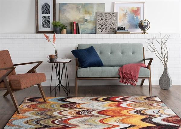 Red, Orange, Blue Contemporary / Modern Area Rug