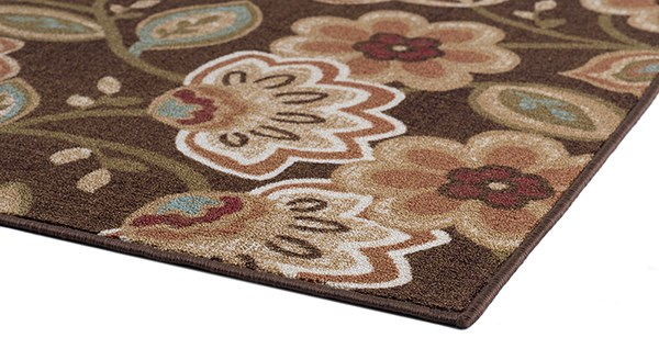 Brown, Red, Green (MJS-1708) Floral / Botanical Area Rug