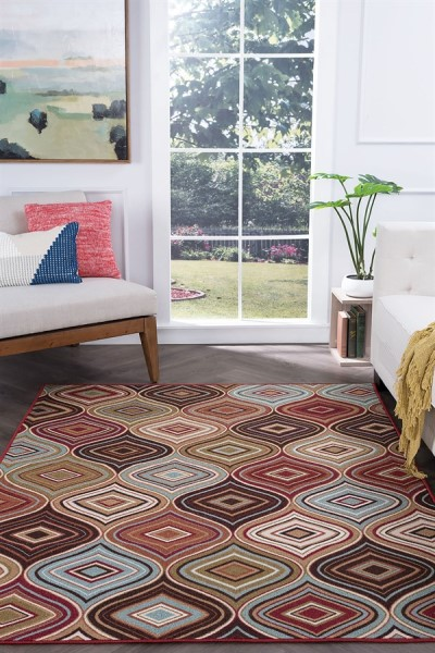 Beige, Brown, Green, Rust (MJS-1101) Bohemian Area Rug