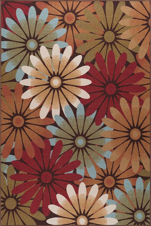 Tan, Sky Blue, Red, Brown (MJS-1601) Floral / Botanical Area Rug