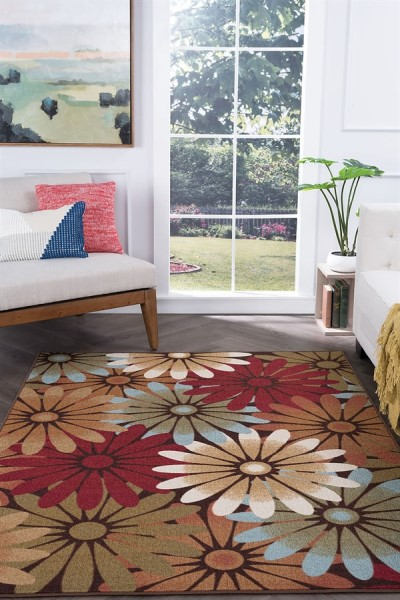 Tan, Sky Blue, Red, Brown (MJS-1601) Floral / Botanical Area Rug