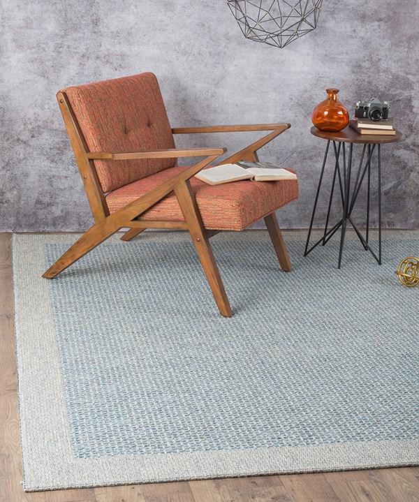 Gray, Blue (SRN-1006) Outdoor / Indoor Area Rug