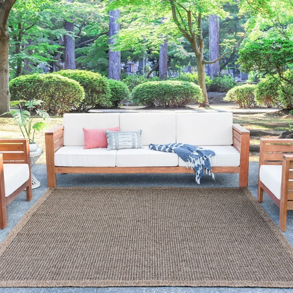 Natural Beige, Black (SRN-1022) Outdoor / Indoor Area Rug