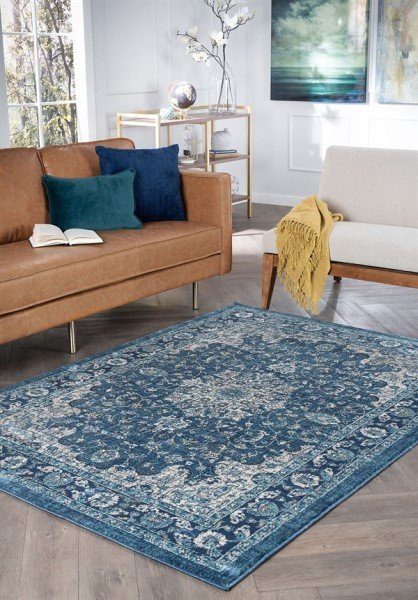Navy, Cream, Gold, Blue Traditional / Oriental Area Rug
