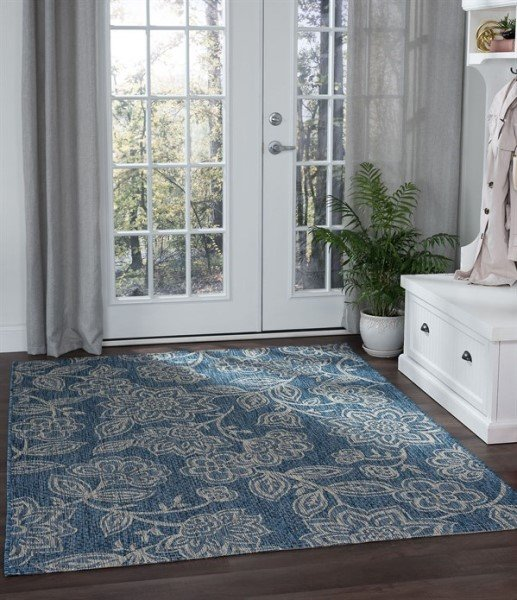 Indigo, Light Gray (VND-1214) Floral / Botanical Area Rug