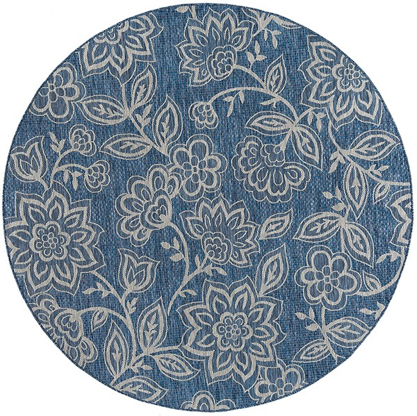 Indigo, Light Gray (VND-1214) Floral / Botanical Area Rug