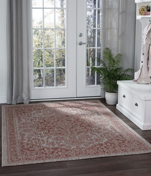 Terracotta, Light Gray (VND-1420) Traditional / Oriental Area Rug