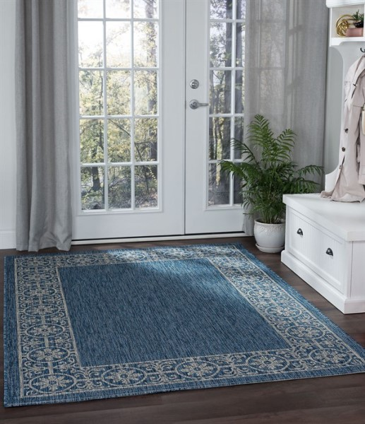 Indigo, Light Gray (VND-1814) Bordered Area Rug
