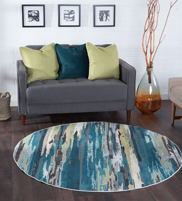 Blue (MLN-4506) Abstract Area Rug